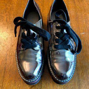 Zara Woman Metallic Gunmetal Oxford Shoes 8.5